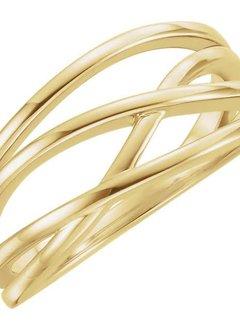 14kt yellow gold criss cross ring