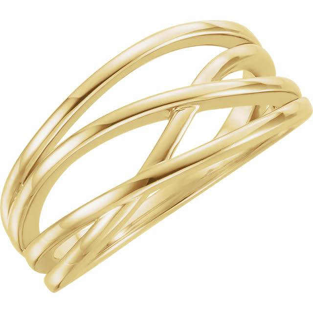 Stuller 14kt yellow gold criss cross ring
