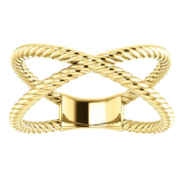 Stuller 14kt yellow gold criss cross rope ring