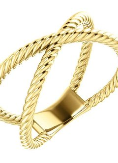 14kt yellow gold criss cross rope ring