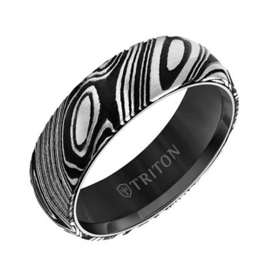 Triton  Damascus steel & Black Tungsten Wedding Band