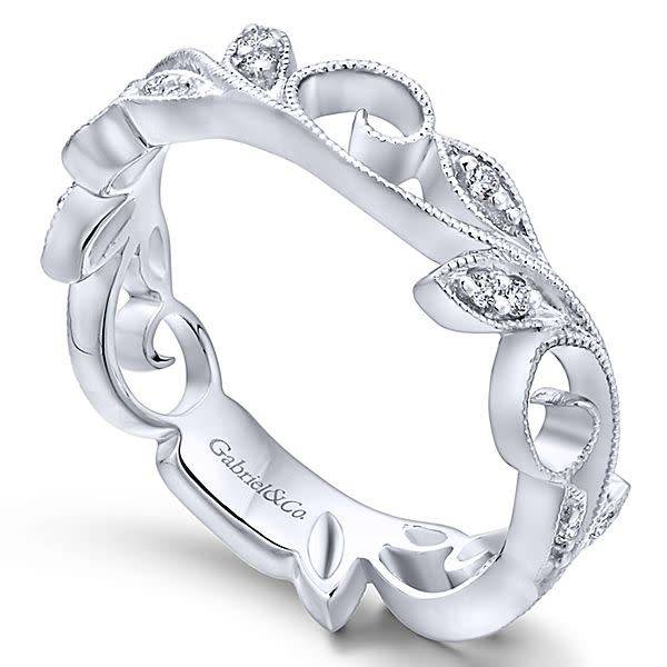 Gabriel & Co LR4593 vine style diamond band