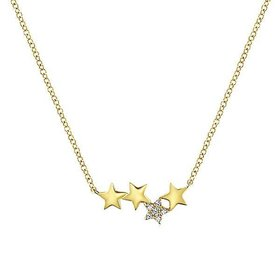 NK5717 14kt yellow gold star necklace