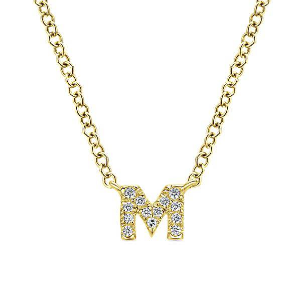 NK4577  14kt yellow gold diamond initial necklace