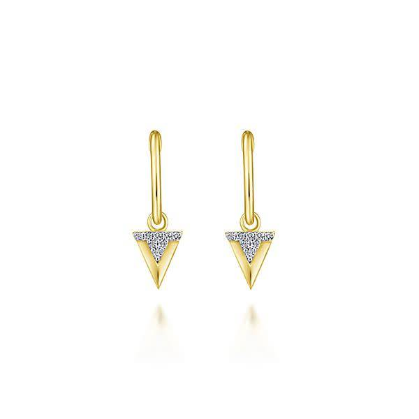 Gabriel & Co EG13334 Yellow Gold Huggie Drop Earrings
