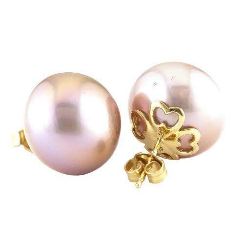 Lau 15mm pink freshwater cultured pearl stud earrings