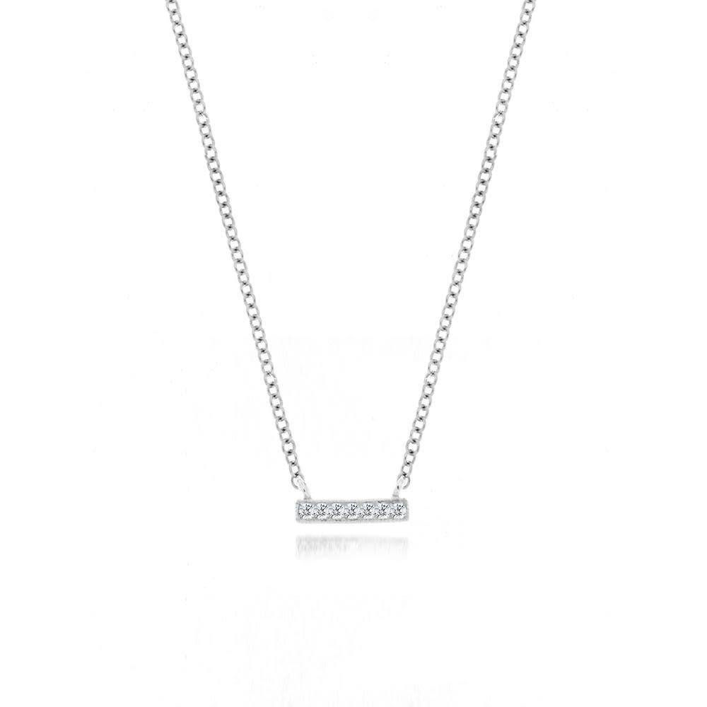 Meira T 14kt white gold mini diamond bar necklace