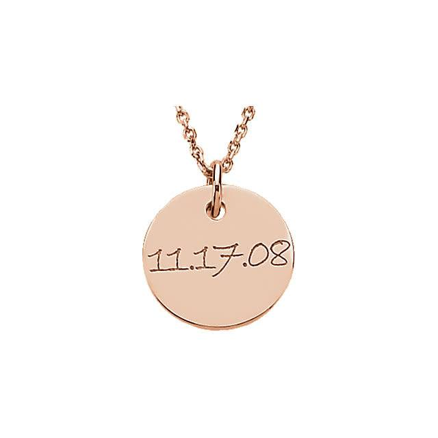 Stuller 14kt gold engraved mini disc pendant