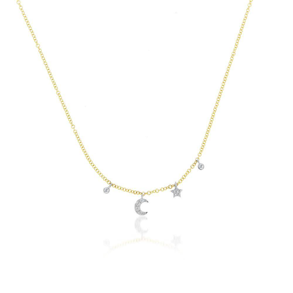 N10404 mini moon and star bezel necklace