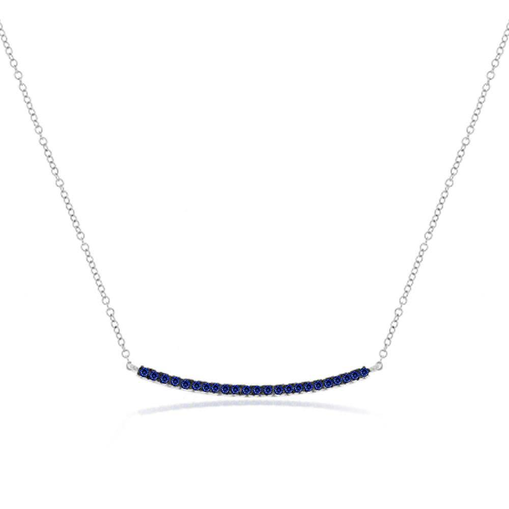 Meira T N11092 Blue Sapphire Bar Necklace