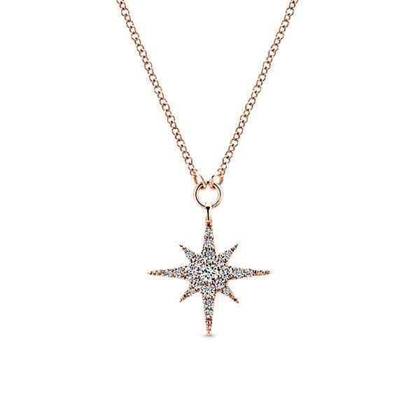 Gabriel & Co NK4847 Diamond Starburst Necklace