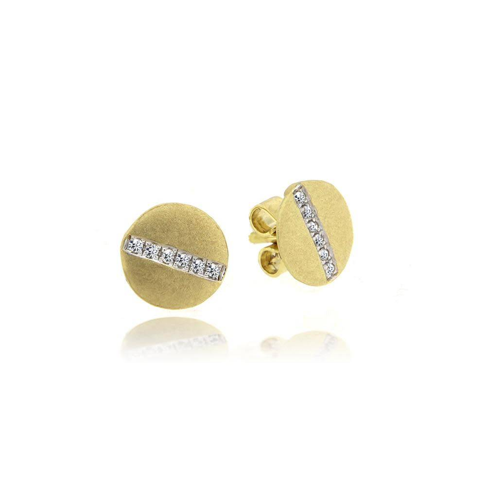 E10053 Brushed Yellow Gold Studs