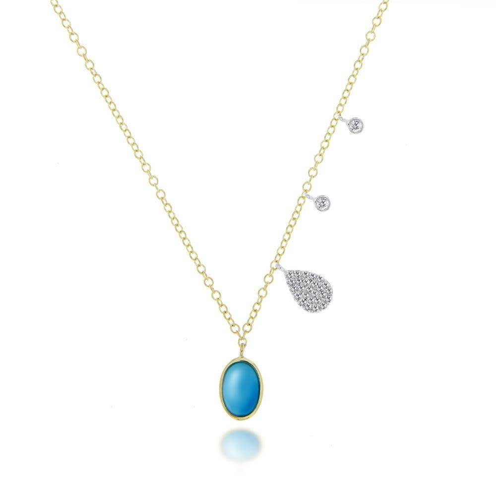 Meira T Round Turquoise Charm Necklace