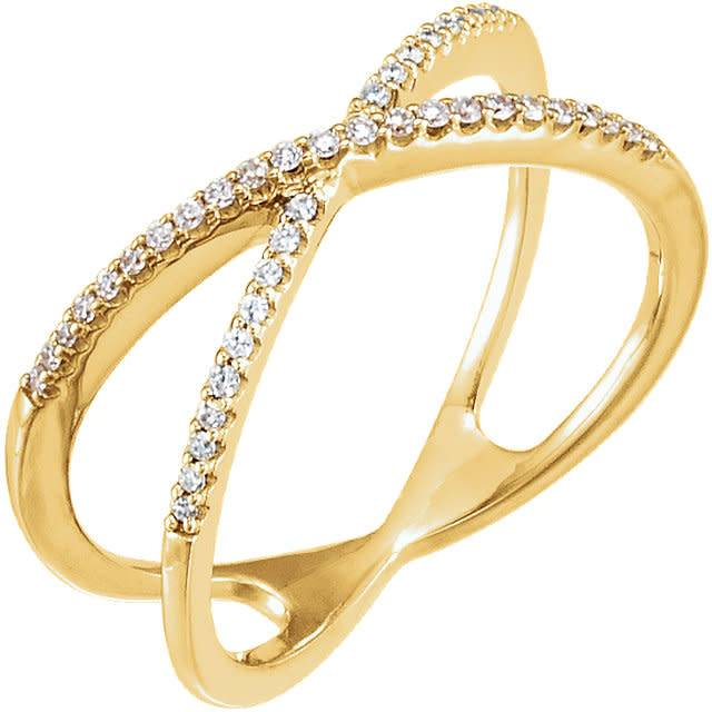 Stuller 14kt gold criss cross diamond band