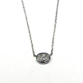 Oval Diamond Bezel Necklace
