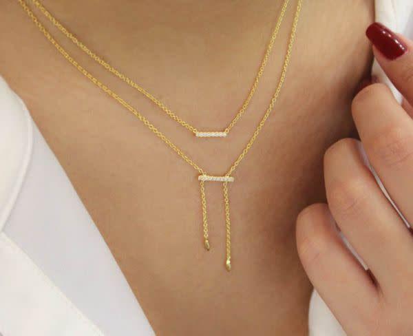 Gabriel & Co Gold Petite Pave Diamond Bar Necklace