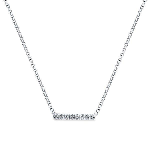Nk4522 Gold Petite Pave Diamond Bar Necklace Freedman