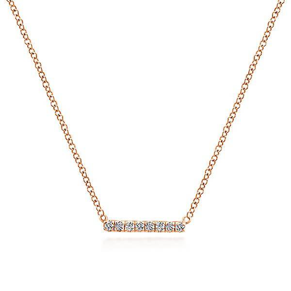 Gabriel & Co Gold Petite Pave Diamond Bar Necklace