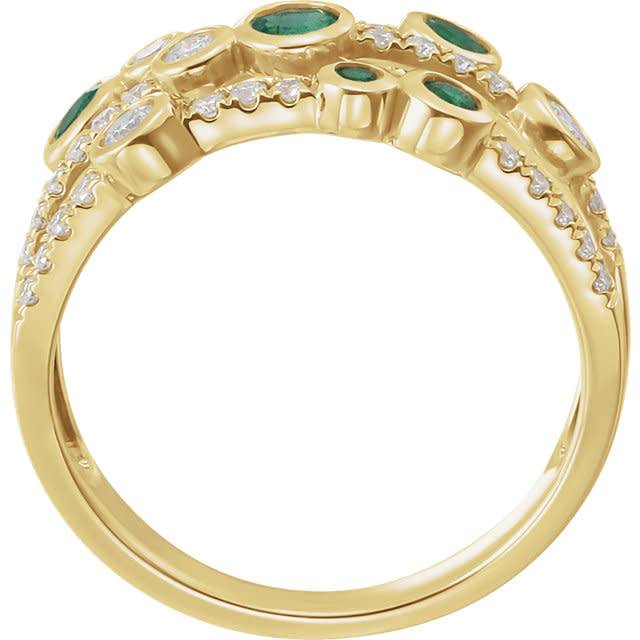 Stuller Emerald & Diamond Multi Row Ring