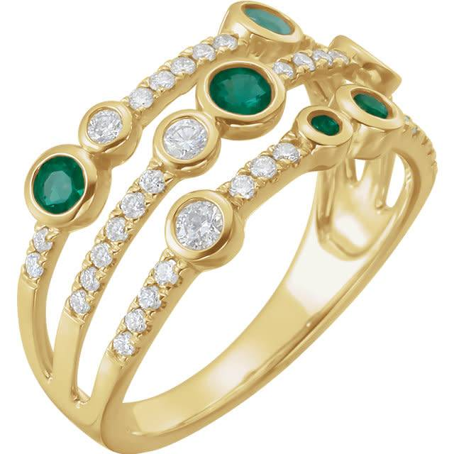 Emerald & Diamond Multi Row Ring
