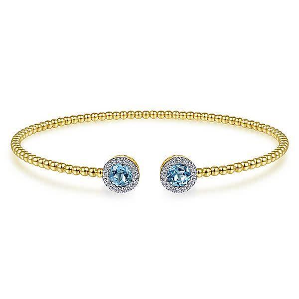 BG4245 Swiss Blue Topaz & Diamond Yellow Gold Bangle