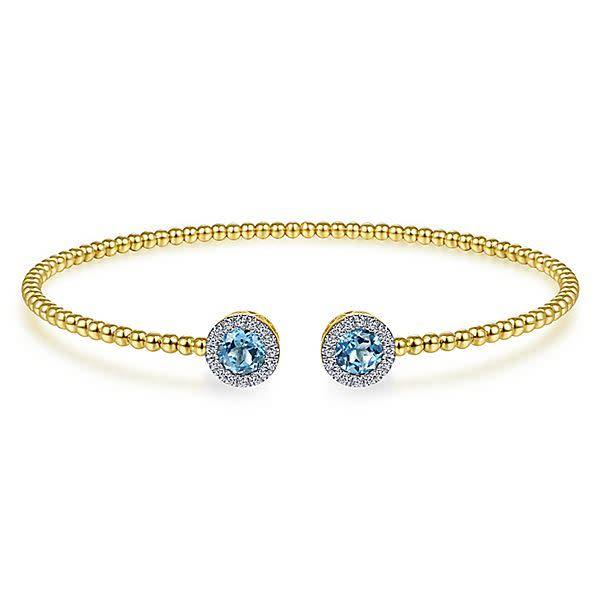 Gabriel & Co BG4245 Swiss Blue Topaz Yellow Gold Bangle