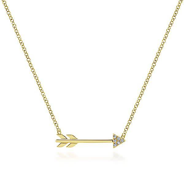 14kt Gold Diamond Arrow Necklace