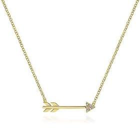 14kt Gold Diamond Arrow Necklace