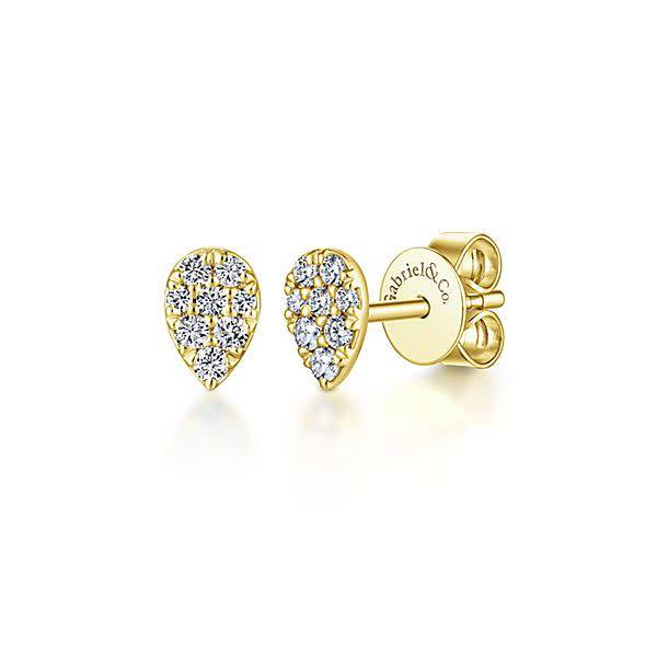 14kt Gold Diamond Pear Shape Studs