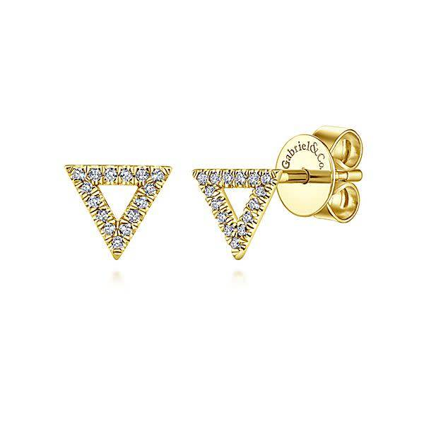 Gabriel & Co 14kt Gold Triangle Diamond Stud Earrings