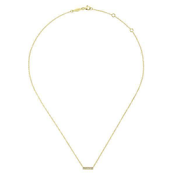 Gabriel & Co 14kt Gold Milgrain Diamond Bar Necklace
