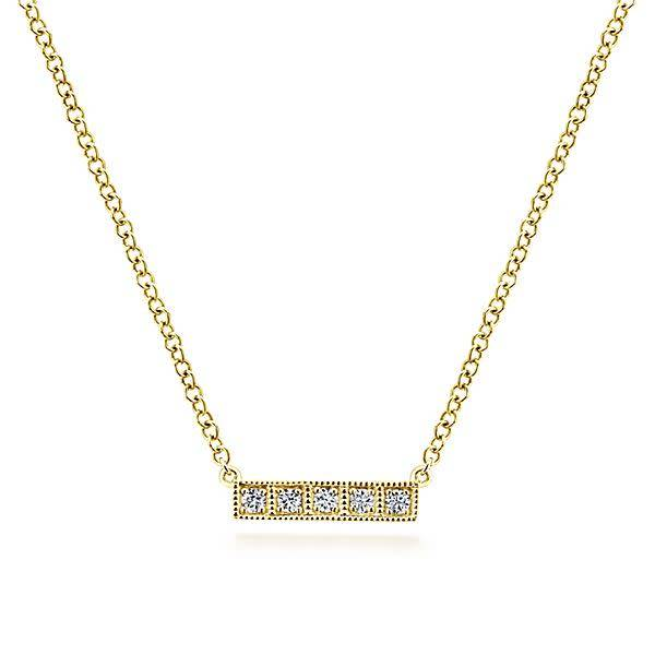 14kt Gold Milgrain Diamond Bar Necklace