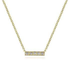 14kt Gold Milgrain Diamond Bar Necklace