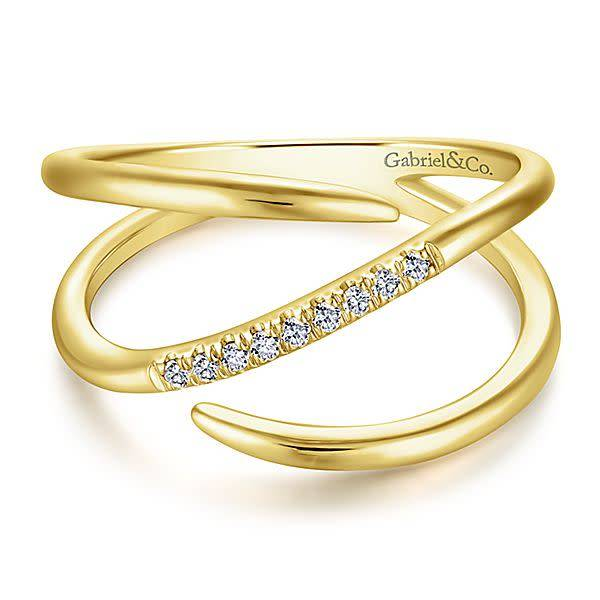 Gabriel & Co LR51267 Wide Gold Wrap Diamond Ring