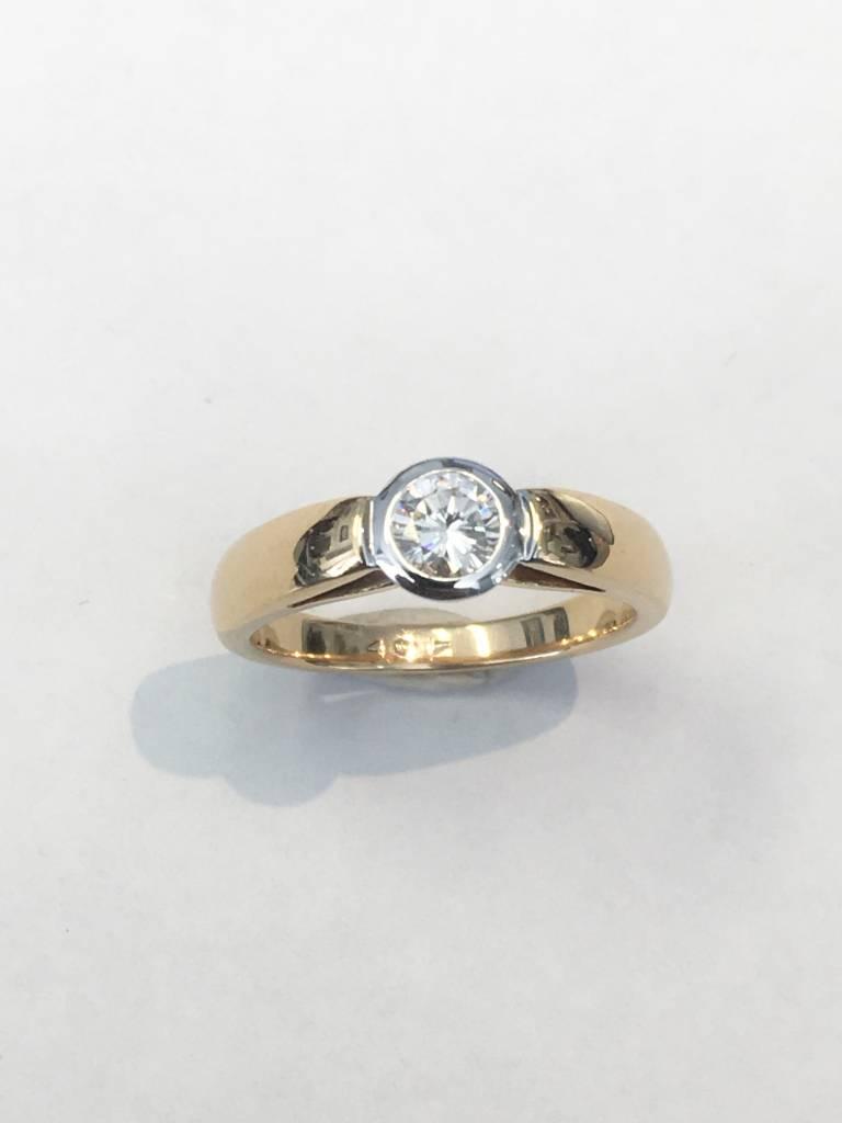 0.40 ct rd H/I VS2/SI1 14kt yg bezel ring