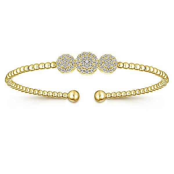 BG4114 Gold Cluster Diamond Bangle