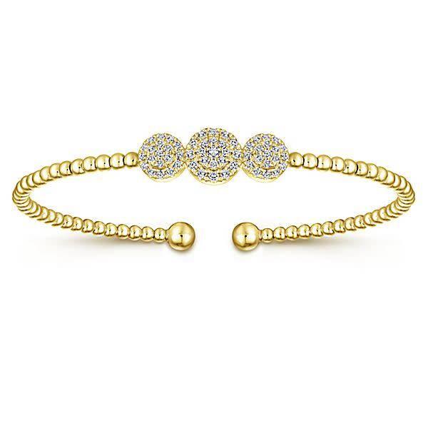 BG4114 Gold Cluster Diamond Bangle