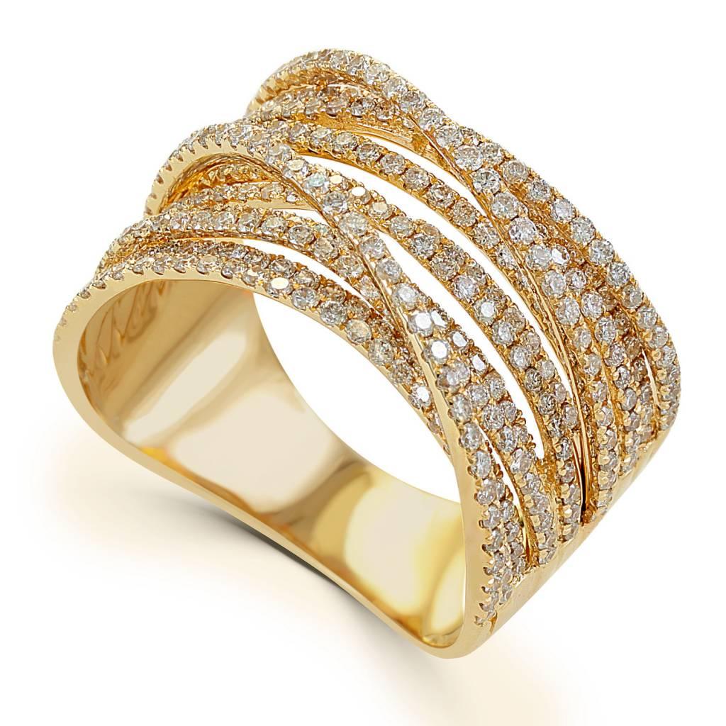 Sabrina CR967  14kt Gold Multi Row Diamond Band
