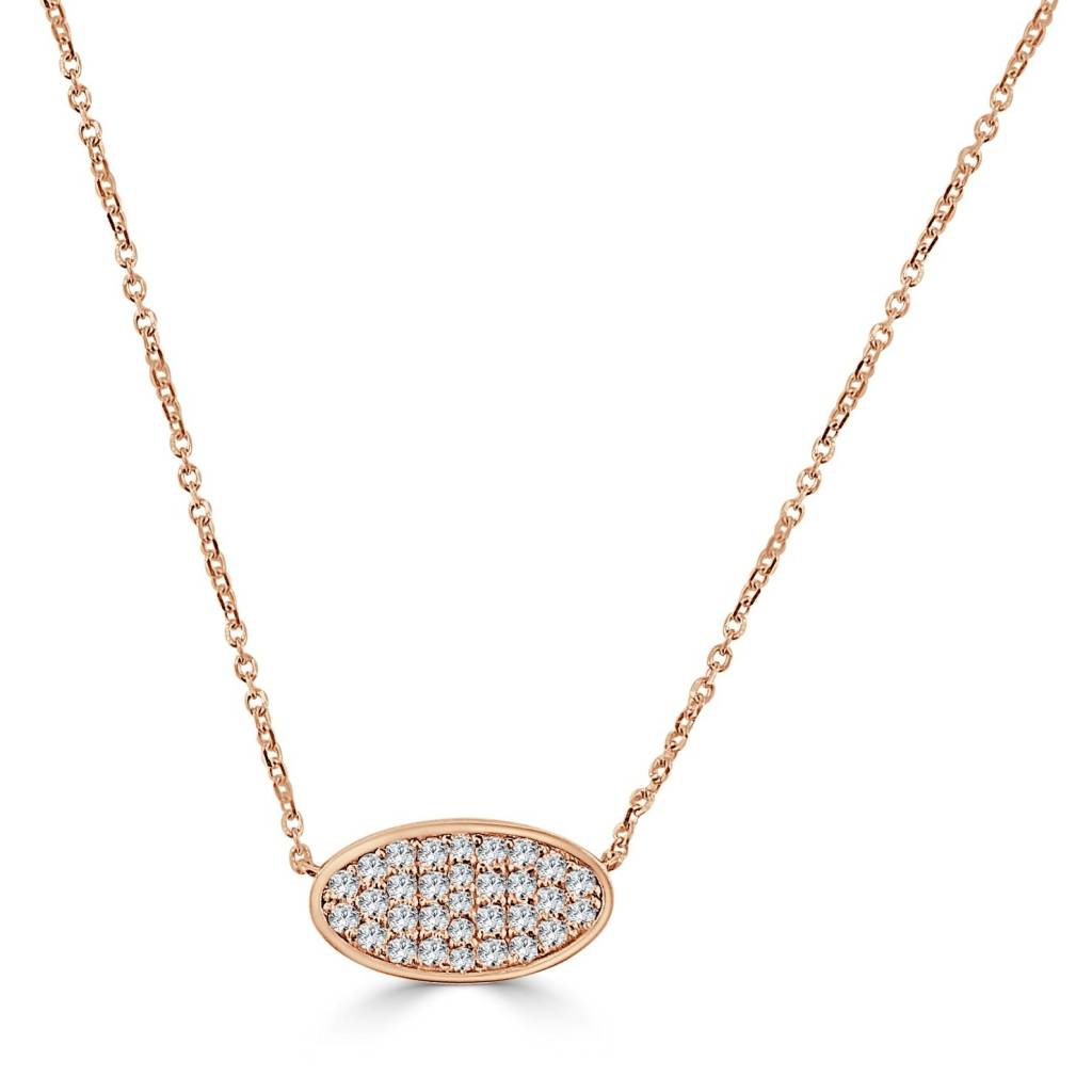 Sabrina N248 Pave Oval Diamond Necklace