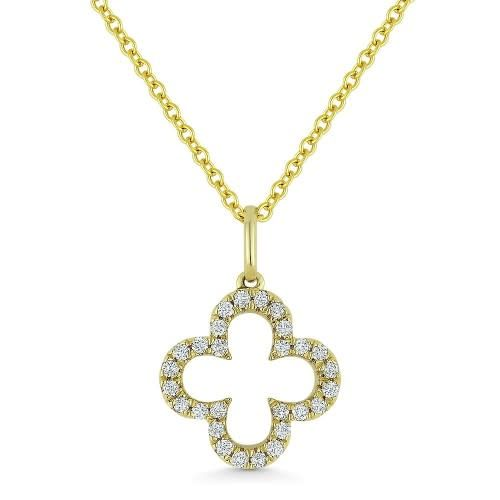 Madison L N1010W diamond clover shape pendant necklace