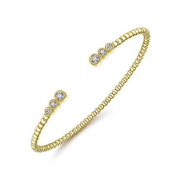 Gabriel & Co BG4120 14kt gold bezel diamond open bracelet