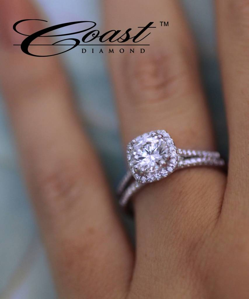 Coast LC5410 thin halo engagement ring setting