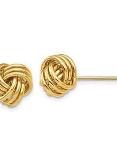 Yellow gold triple knot stud earrings