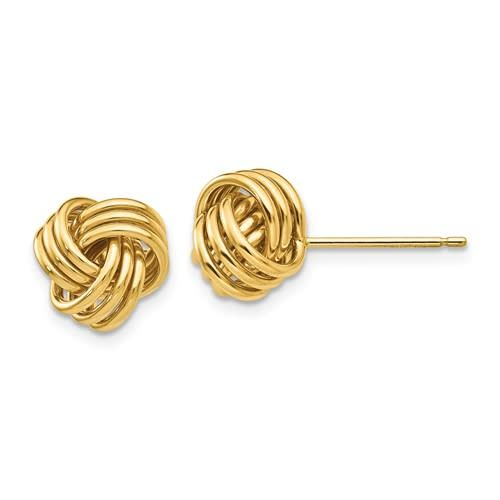 Yellow gold triple knot stud earrings