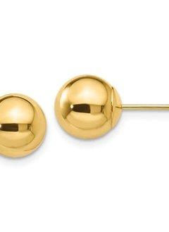 14kt yellow gold 8mm ball stud earrings