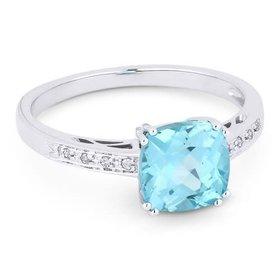 R1108 Aquamarine & Diamond Ring