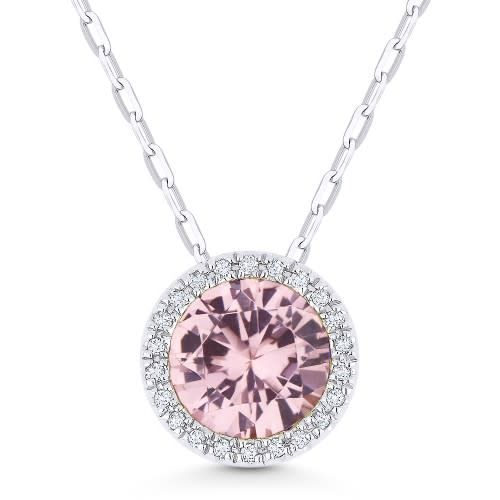 N1041MGW Morganite and Diamond Halo Necklace