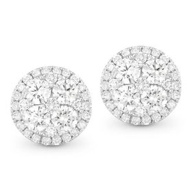0.98 Carat Round Diamond Cluster Stud Earrings