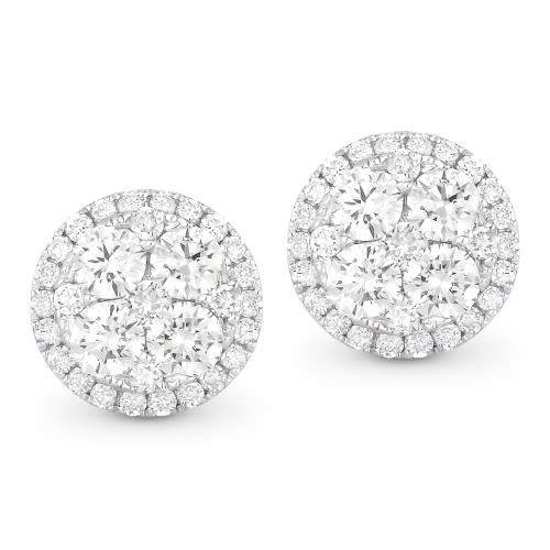 Madison L 0.98 Carat Round Diamond Cluster Stud Earrings