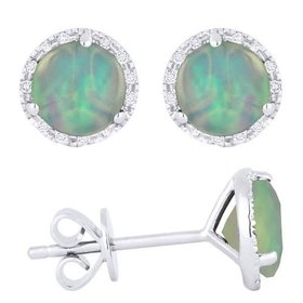 E1023OPW Opal & Diamond Halo Stud Earrings